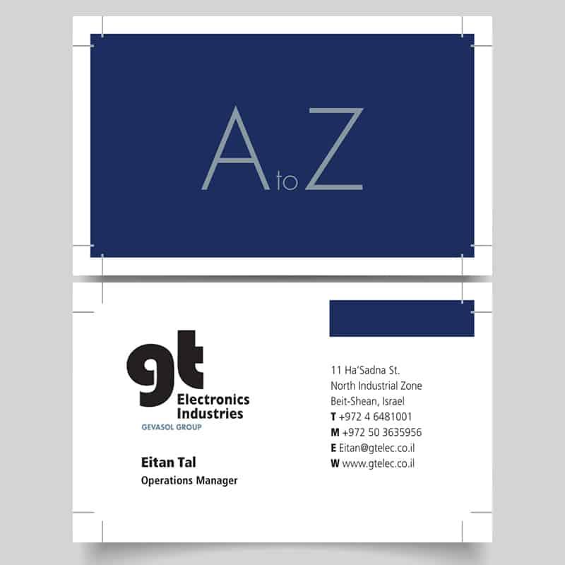 כרטיס ביקור לדוגמא בצבע כחול לבן ושחור של איתן טל