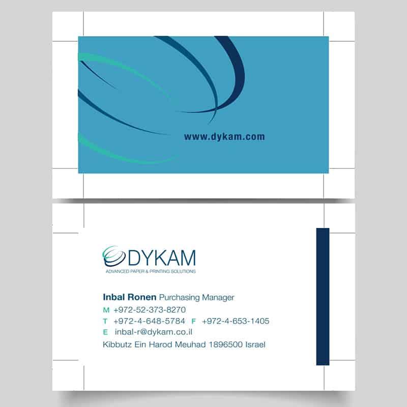 דוגמא של כרטיס ביקור בגווני כחול לענבל רונן במחלקת רכש
