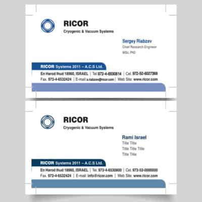 כרטיסי ביקור לחברת ricor, דוגמא של שני עובדים . גווני כחול ולבן